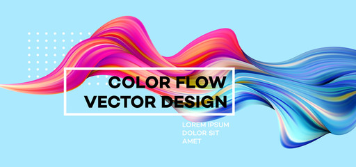 Modern colorful flow poster. Wave Liquid shape in blue color background. Art design for your design project. Vector illustration