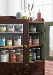 Paints in cabinet