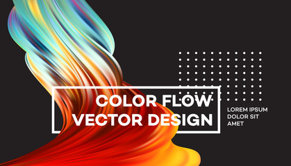Modern colorful flow poster. Wave Liquid shape in black color background. Art design for your design project. Vector illustration