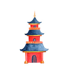 Chinese pagoda on white background. Taoist or buddhist temple watercolor illustration.