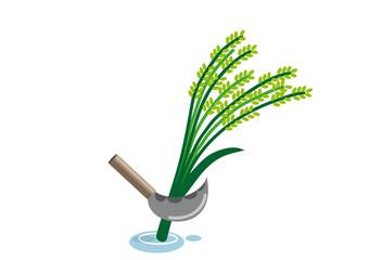 稲刈り(ベクターイラスト)