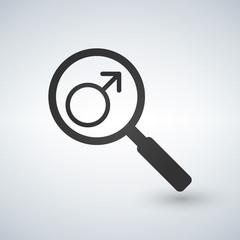 Male Gender Symbol in magnifying glass, vector illustration