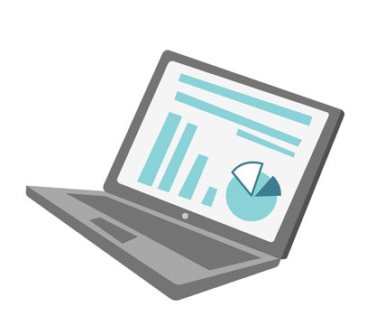 Modern laptop with financial chart and diagram on the screen vector cartoon illustration isolated on white background.