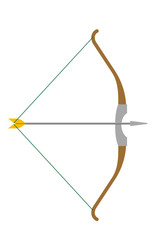 Arrow and bow vector cartoon illustration isolated on white background.