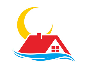 moon house housing home residence residential residency real estate image vector icon