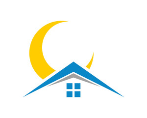 moon house housing home residence residential residency real estate image vector icon 2