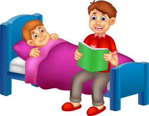 funny father cartoon read a bedtime tale