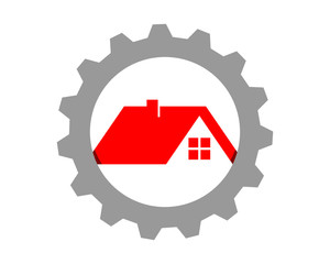 red roof gear house housing home residence residential residency real estate image vector icon
