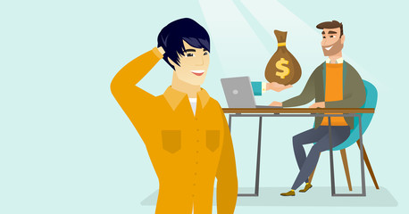 Young asian man thinking about starting to earn money from online business while his happy caucasian white friend getting money bag from a computer. Vector cartoon illustration. Horizontal layout.
