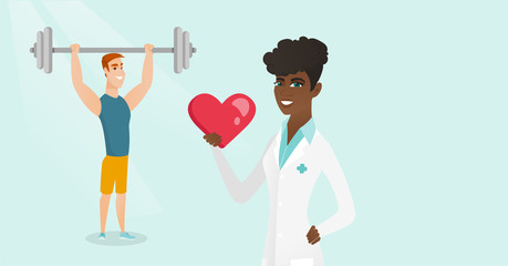 Young african doctor showing heart on the background of caucasian white man lifting a heavy weight barbell. Strong sportsman doing exercise with barbell. Vector cartoon illustration. Horizontal layout
