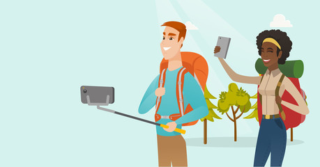 Young multiracial couple of happy travelers making selfie. Smiling caucasian white man and african-american woman with backpacks taking selfie photo with a mobile phone. Vector cartoon illustration.