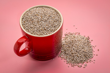white chia seeds in coffee cup