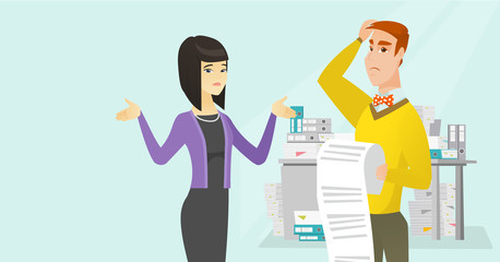 Young multicultural disappointed business people standing with a long bill in the office. Depressed woman and man during the review of business bill. Vector cartoon illustration. Horizontal layout.