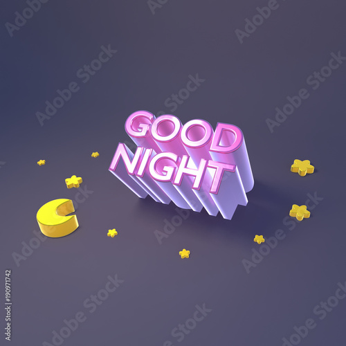 3d Rendering Picture Of Good Night Sign Moon And Yellow Stars