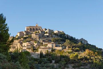 Hillside Village in Provence France that is sunlit. Trees and shrubs are in the foreground.
