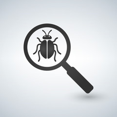 Bug under magnifying glass vector icon isolated on white background. for infographic, website or app.