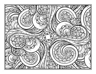 Octopus tentacles ornamental coloring page for art therapy