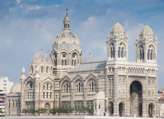 The Cathedrale La Major, a Catholic church in Marseilles France with Byzantine and Revival architecture.