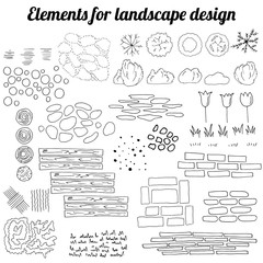 Big collection of elements for landscape design. Contour, black and white.