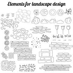 Big collection of elements for landscape design. Contour, black and white.