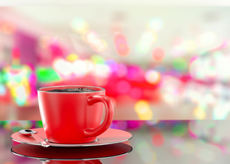 coffee red cup on abstract blurred photo background