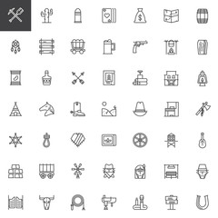 Wild west line icons set, outline vector symbol collection, linear style pictogram pack. Signs, logo illustration. Set includes icons as dreamcatcher, cowboy, western, sheriff, bandit, saloon, ranch