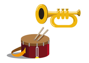 trumpet and drum vector illustration