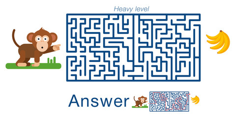 Children's labyrinth with monkey and bananas. A puzzle for children. Vector maze.