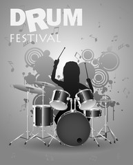 Poster Template drum festival with Effect. Concert, Party. Vector illustration