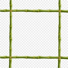 Realistic bamboo poles or sticks border with space for text.