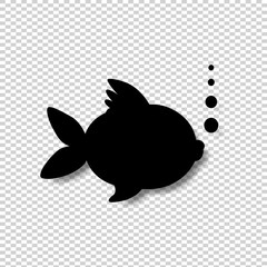 Black silhouette of goldfish with bubbles isolated on transparent