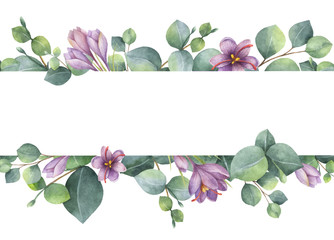 Watercolor vector wreath with green eucalyptus leaves, purple flowers and branches. Wall mural