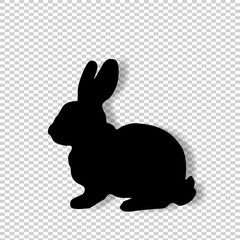 Black profile silhouette of fluffy rabbit  isolated on transparent