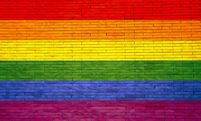 Gay flag painted on a brick wall. 3d illustration