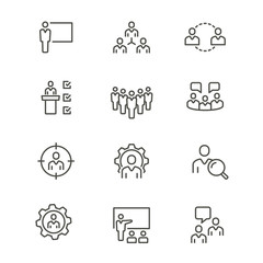Management consulting - line vector icon set. Editable stroke.
