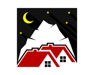 night mount house housing home residence residential residency real estate image vector icon