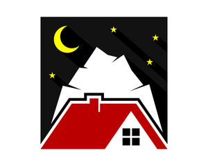 night mount house housing home residence residential residency real estate image vector icon 1