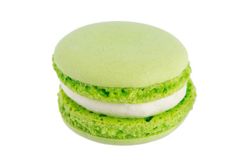 macaron mint green biscuits, on white background