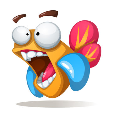 Crazy, funne, cute cartoon fish Vector eps 10