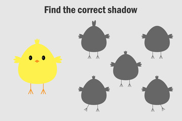 Find the correct shadow, easter game for children, chick in cartoon style, education game for kids, preschool worksheet activity, task for the development of logical thinking, vector illustration