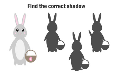 Find the correct shadow, easter game for children, bunny in cartoon style, education game for kids, preschool worksheet activity, task for the development of logical thinking, vector illustration