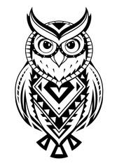 Ethnic style owl tattoo