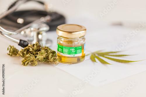 cannabis, CBD oil ,stethoscope and recipe