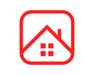 red house roof housing home residence residential residency real estate image vector icon