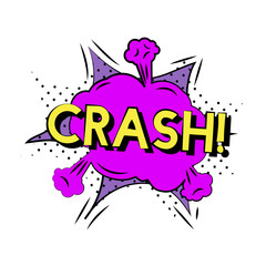 Crash cartoon word isolated on background