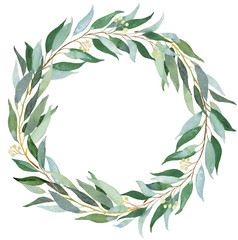 Wedding greenery wreath. Watercolor illustration with eucalyptus.