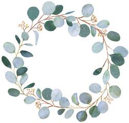 Wedding greenery wreath. Watercolor illustration with eucalyptus.