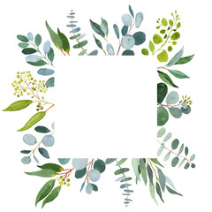Wedding greenery square template. Watercolor illustration with eucalyptus.
