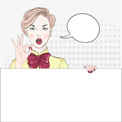 Pop Art Vintage advertising poster comic girl in blouse hand shows okay and hold white banner. Comic woman with speech bubble. Vector illustration