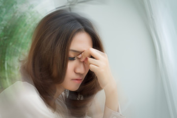 sick stressed dizzy woman suffering from vertigo, dizziness, headache